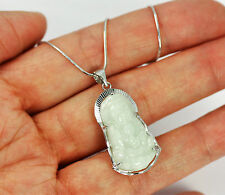 Pretty Solid 925 Sterling Silver, Genuine Jade Buddha Pendant necklace + box