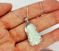 Pretty Solid 925 Sterling Silver, Genuine Jade Buddha Pendant necklace + box