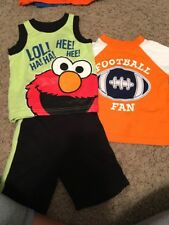 boy SESAME STREET 2-pc SHORT SET TANK TOP ELMO  Football Shirt sz 12 MTHS
