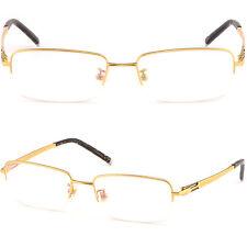 Leicht Herren Damenbrille Halbrand Brillengestell Titan Metall Fassung Gelb Gold