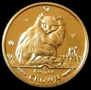 1995 GOLD ISLE OF MAN 1/10 OZ CROWN TURKISH CAT MINT STATE