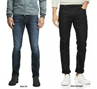 Mens Slim Fit Jeans Denim Jack and Jones Tim Trousers In Black and Blue Denim