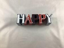 """Wooden Sign - Happy Red White Blue 1.5"""" X 6"""""""