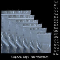 Grip Seal Bags Self Resealable Grip Poly Plastic Clear Zip Lock 1000 All Sizes