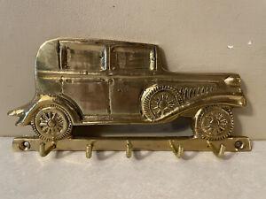 Vintage Brass Gold Metal Wall Mount Key Rack Holder Hook Model A Antique Car Old