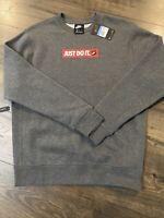 NIKE Mens $50 Crew Long Sleeve JDI Fleece  Sweatshirt GRAY BV5089