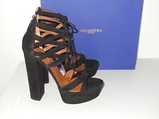 AQUAZZURA BLACK BEVERLY HILLS PLATEAU SUEDE LACE-UP SANDALS SIZE 39