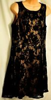 women's APT. 9 sleeveless black lace dress size 12 fit & flare MSRP $60 dramatic