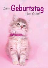 Doppelkarte Kuvert rosa Postkarte Glückwunschkarte Geburtstagskarte Katze Baby