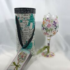 Delish My BFF Hand Painted Stemware w/ Attitude Wine Glass Best Friends Forever