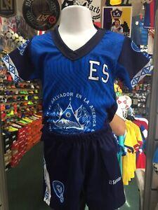 El Salvador Home 2019-20 Blue Black Classic soccer Set Kids Size 1T Only