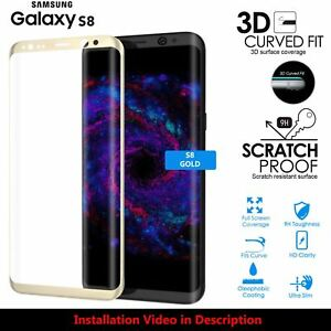 Full Screen Coverage Tempered Glass Screen Protector For Samsung Galaxy S8 GOLD