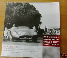 BROOKS AUCTION CATALOGUE SALE 25 COLLECTORS MOTOR CARS EARLS COURT LONDON 1993
