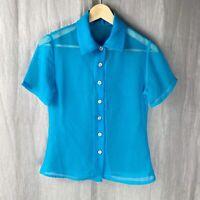 *VINTAGE* Sheer Blue Short Sleeve SIZE 6/8 UK Button Up Blouse V1