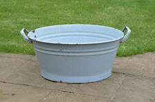 51.5 cm - old enamelled enamel washing bowl shabby bath chic -  FREE POSTAGE