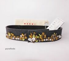 MARNI CRYSTAL EMROIDERY FELT AND LEATHER BELT SIZE 70, NWT in Marni dustbag