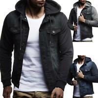 New Winter Mens Denim Slim Hoodies Hooded Sweatshirt Coat Jacket Outwear Tops