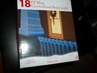 CHRISTMAS CRYSTALLIZED ROPE LIGHT 18FT. INDOOR/OUTDOOR RED, BLUE, CLEAR ROPE LIG