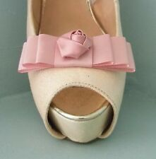 2 Candy Pink Bow Clips for Shoes with Satin Flower Centre