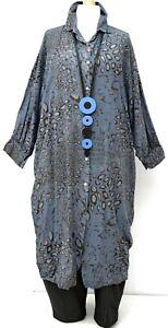 "PLUS SIZE BLUE LEOPARD PATTERN VERY LONG SHIRT-DRESS BUST UP TO 56"" XXL-XXXL"