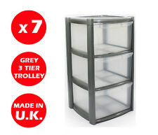 7 x 3 DRAWER PLASTIC STORAGE DRAWER - CHEST UNIT - TOWER - WHEELS -TOYS - SILVER