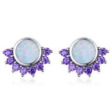 Amethyst Silver Pendant Earrings Jewelry Fashion Woman Round Artificial Opal