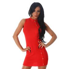 Sexy Kleid MiniKleid Mini Feinripp ärmellos mit Zier-Knopfleiste Rot 34 36 38 #