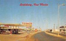 Lordsburg NM Closeup: Texaco Gas Station & Sign~Chevrolet Used Car Dealer 1970s