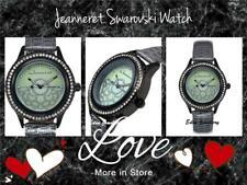 Gorgeous JEANNERET Watch SWAROVSKI Crystals Genuine Grey Leather MONTESSORI