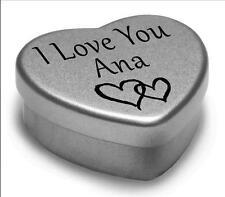 I Love You Ana Mini Heart Tin Gift For I Heart Ana With Chocolates or Mints