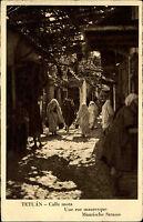 Tetuán Tétouan Marokko s/w AK 1933 Calle mora rue mauresque Maurische Strasse
