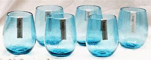 TAG Aqua Bubble Glass Stemless Wine Artisan Glass Set of 6 -16 oz FREE SHIPPING