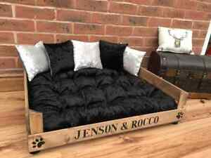 WOOD PERSONALISED PET BED WITH BLACK AND SILVER BED AND CRUSHED VELVET CUSHIONS