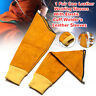 1 Pair Cow Leather Welding Elastic Cuff Welder's Long Protective Glove Sleeves