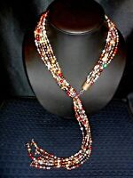 6 STRAND MULTI COLOR FRESHWATER PEARL LARIAT AND STERLING SILVER NECKLACE