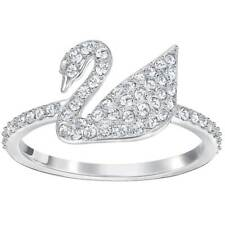 Cisne Swarovski para mujer Anillo icónico tono Plata Cristal Claro, Talla 52 (5250743)