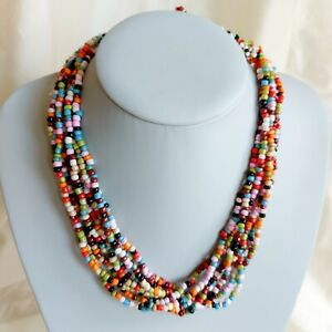 Bohemian Multi-Coloured Glass Bead Collar Necklace, Ethnic, Holiday Colourful