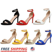 Women's High Heel Sandals Stilettos Open Toe Ankle Strap Wedding Party Shoes