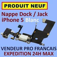 ✖ NAPPE PRISE CONNECTEUR USB DOCK LIGHTNING JACK ECOUTEURS MICRO IPHONE 5 BLANC