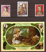 240SAN TOME E PRINCIPE 1bloc A70 et 3 timbres oblitérés 1981. Année de l'enfance