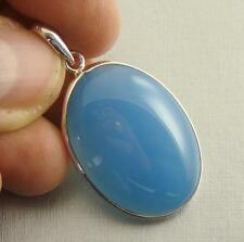 BLUE CHALCEDONY Semi-Precious Gemstone & 925 Sterling Silver Pendant  -  F70