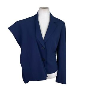KASPER Women 2PC Navy Blue Polyester Stretch Lined Pant Suit Size 10