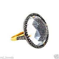 Crystal Quartz Gemstone 14 K Gold Ring Sterling Silver Pave Diamond Fine Jewelry