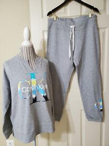 NWT $119 Calvin Klein Women 2 Pc Logo Terry Jogger Suit  Pearl Grey Heather Sz.L