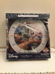 Disney Mickey Minnie Sweetheart Holiday Thomas Kinkade Glass Wall Clock Limited