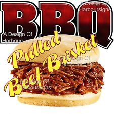 "Bbq Barbeque Brisket Pig Restaurant Food Truck Concession Sign Vinyl Decal 14"""