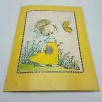 Vintage 1976 MEAD Yellow Girl With Buttefrly Wildflowers Portfolio Folder
