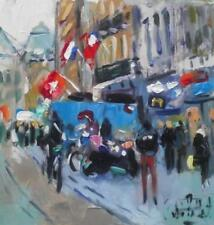 Flags in Amsterdam Street    Original Impressionist Oil Painting by Andre Pallat