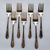 7 Wm Rogers Silverplate 1937 Memory Hiawatha Salad Forks IS Vintage