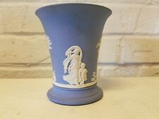 Vintage Wedgewood Blue Jasperware Pottery Flared Flower Vase